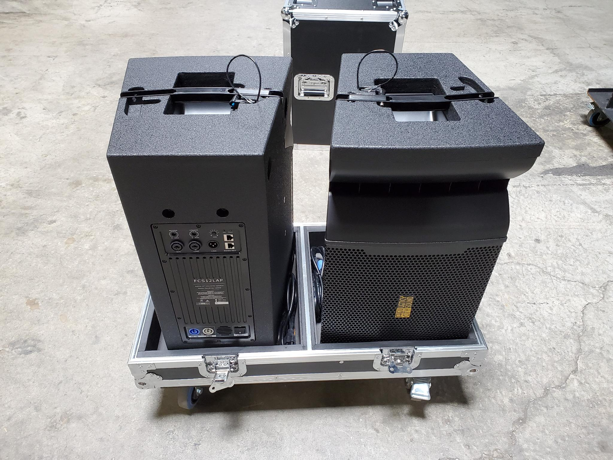 "Back in Stock! FCS12LAP Active 12"" Line Array with Built in DSP $1149.  Free road case with the purchase of 2 boxes."